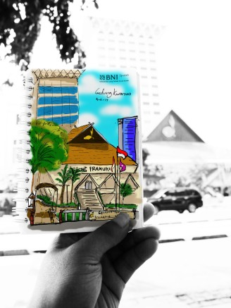 Gedung Pramuka sketch colored with Photoshop cs5